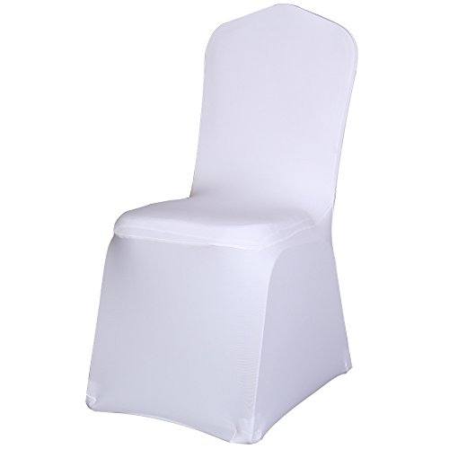 Cape May Christmas Events - Best Sale Set of 50pc White Color Universal Size Polyester Spandex Banquet Wedding Party Decoration Stretch Dining Chair Covers--(Flat Bottom)