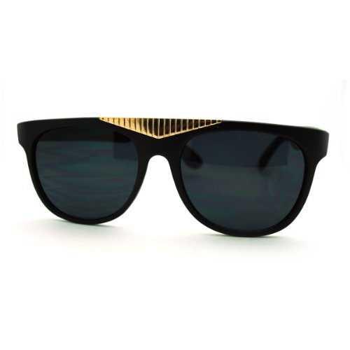 Matte Black Fancy Gold Triangle Flat Top Sunglasses Hot Celebrity - Celebrity Hot Sunglasses