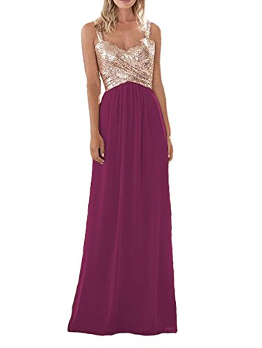 Firose Women's Sequined Sweetheart Backless Long Prom Bridesmaid Dress RoseGold/Coral US2