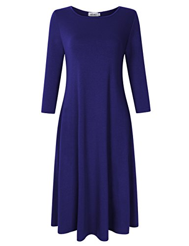 MISSKY Women's 3 4 Long Sleeve Scoop Neck Midi Dress Loose Casual Swing Dress With Pockets (M, Blue)
