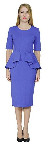 Peplum Skirt Dress (Marycrafts Women's Classy Peplum Pencil Dress For Work Office Church 18 Blue)