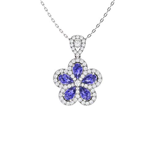 - Diamondere Natural and Certified Pear Cut Tanzanite and Diamond Flower Necklace in 14k White Gold | 1.81 Carat Pendant with Chain