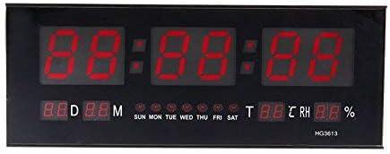 ZJchao Sveglia LED digitale da parete o da tavolo con cifre grandi, calendario e termometro