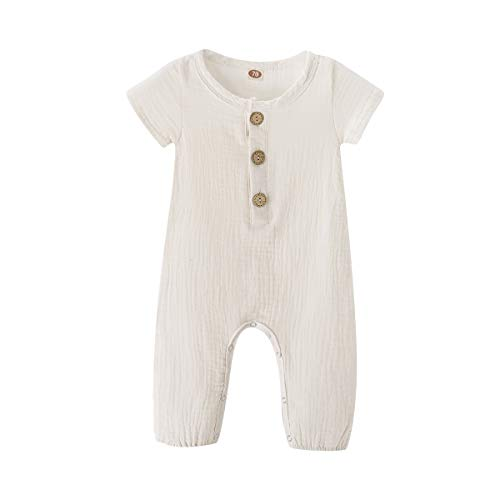 Toddler Baby Girls Boys Solid Romper Summer Jumpsuit One-Piece Bodysuit Baby Onesie Romper Sleepwear Outfits White 12-18 ()