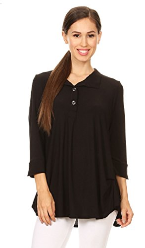 Love My Seamless Women's Ladies Solid Fashion Tunic Top Button Closure Collar 3/4 Sleeves Gathered Detail Rounded Hem
