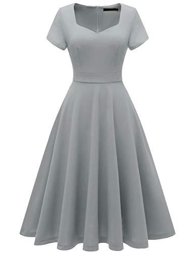- Bridesmay Women's V-Neck Vintage Tea Dress Prom Party Swing Cocktail Bridesmaid Midi Dress Grey XS