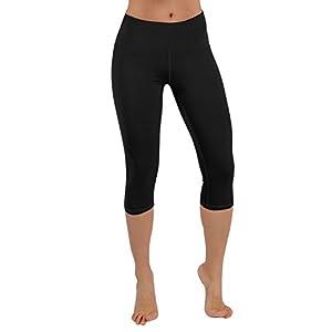 ODODOS Power Flex Yoga Capris Pants Tummy Control Workout Running 4 way Stretch Yoga Capris Leggingss With Hidden Pocket,Black,Large