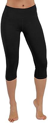 ODODOS Power Flex Yoga Capris Tummy Control Workout Non See-Through Pants with Pocket,Black,X-Large