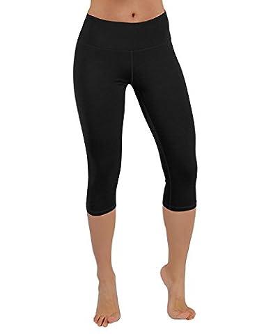 ODODOS Power Flex Yoga Capris Pants Tummy Control Workout Running 4 way Stretch Yoga Capris Leggingss With Hidden Pocket,Black,X-Large