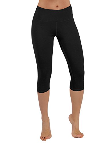 ODODOS Power Flex Yoga Capris Pants Tummy Control Workout Running 4 Way Stretch Yoga Capris Leggingss Hidden Pocket,Black,Medium