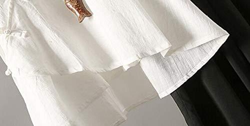 pour Chemises en Manches Blanc Courtes Hellomiko Femme Lin qXRFww