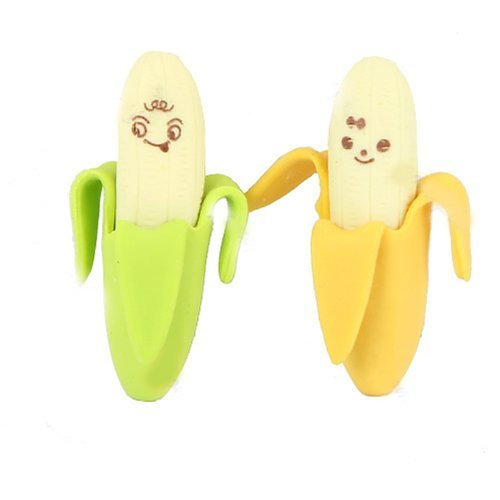 2pcs Novelty Banana Style Pencil Eraser Rubber Stationery Kid Gift Toy COFCO