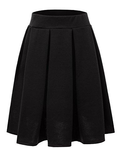 Doublju Elastic Waist Flare Pleated Skater Midi Skirt (Plus size available) BLACK 2XL