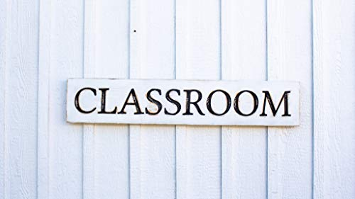 """Classroom Sign - Carved in a 40""""x8"""" Solid Wood Board Rustic Distressed Shop Advertisement Fixer Upper Style Wooden Gift"""