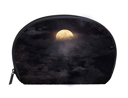 Portable Toiletry Cosmetic Bag Abstract night sky with full moon for halloween background Travel Cosmetic Case Luxury Makeup Artist Bag ()
