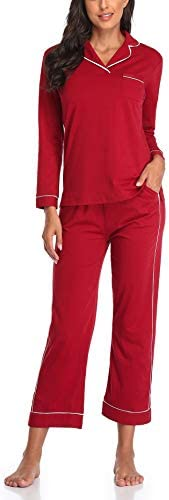 Women's Long Sleeve Pajama Set Soft Loungewear Pj Set with Long Pants Pajamas for Women