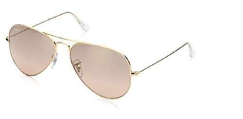 Ray Ban RB3025 001/3E 55M Gold/ Brown Pink Silver Mirror Aviator + FREE Complimentary Eyewear Care - Pink Ray Gold And Ban Aviator