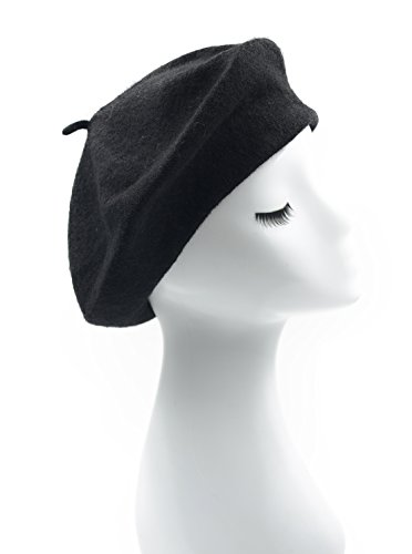 Melesh - Womens Classic Solid Color Knitted Wool French Beret (Black)