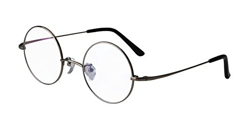 - Agstum Pure Titanium Retro Round Prescription Eyeglasses Frame 44-24-140 (Gunmetal, 44mm)