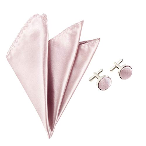 Suit Accessory Handkerchief Matching Satin Pocket Square Colour amp; Cufflinks Solid Set Pink 2pc Dusty StxnpqEn