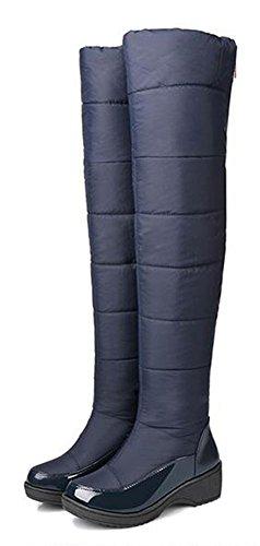 Easemax Womens Stylish Waterproof Completamente Foderato In Pelliccia Tira Su Plateau Medio Tacco Sopra Il Ginocchio Caldo Stivali Da Neve Invernali Blu