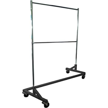 Deluxe Commercial Grade Rolling Z Rack Garment Rack with Nesting Base, 400lb Capacity, Gloss Black Base, Double Bar and Adjustable Height Chrome Uprights