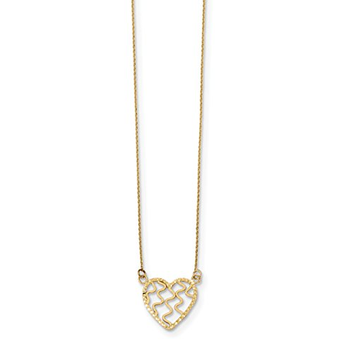 ICE CARATS 14k Yellow Gold Heart 18 Inch Chain Necklace Love Fancy Fine Jewelry Gift Set For Women Heart by ICE CARATS