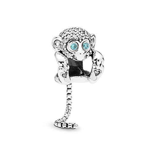 PANDORA Sparkling Monkey 925 Sterling Silver Charm - -