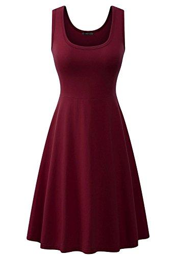 LouKeith Women Plus Size Summer Sleeveless Beach Casual Flare Midi Tank Dress Wine XL (Plus Size Dresses Flare)