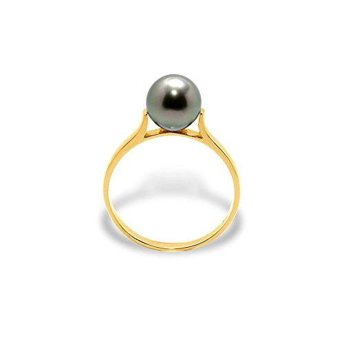 Blue Pearls Black Tahitian Pearl Ring and Yellow Gold 375/1000 BPS K403 W 5