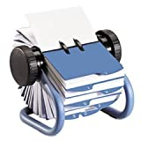 Colored Open Rotary Business Card File With 24 Guides, Blue By: Rolodex