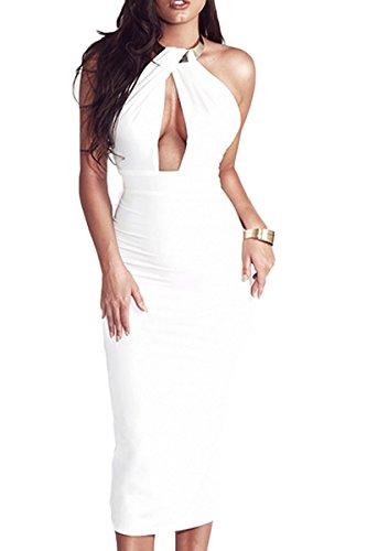 Sunfury Ladies Sexy Low Cut Halter Backless Slit Bodycon Pencil Party Dress For Women White (Sexy Low Cut White Dress)