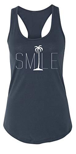 Ladies Tank Top Smile Palm Trees Graphic Tee Beach Bum Ocean Graphic Tee Indigo 2XL (Beach Indigo Palm)
