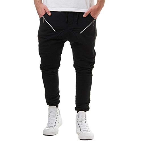 Realdo Clearance Sale, Casual Loose Camouflage Patchwork Contrast Elastic Waist Sports Mens Jogger Pants Trousers(XX-Large,Black) by Realdo (Image #5)