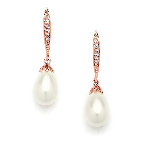 Mariell Vintage Rose Gold Glass Pearl Drop Bridal Wedding Earrings with Art Deco Cubic Zirconia Accent