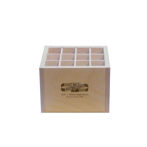 Holzbox QUADRATISCH für Stifte Pinsel Druckbleistifte, etc.. Koh-I-Noor Stiftebox Aufbewahrungsbox Pinselbox Stifteköcher