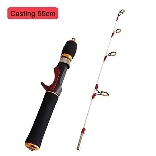 WGWBHJN Mini Ice Fishing Rod Raft Rod Portable Winter Fishing Ice Rods Ultralight EVA H le Fiberglass 55Cm 75Cm Burgundy