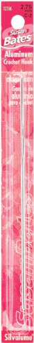 Susan Bates 5-1/2-Inch Silvalume Aluminum Crochet Hook, 5.5mm, Red (Bates Steel Hook)