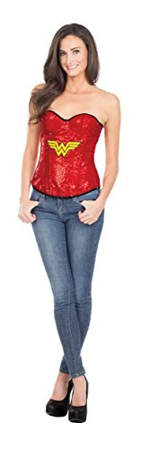 Secret Wishes DC Comics Justice League Superhero Style Adult Corset Top with Logo Sequined Wonder Woman, Red, Large -