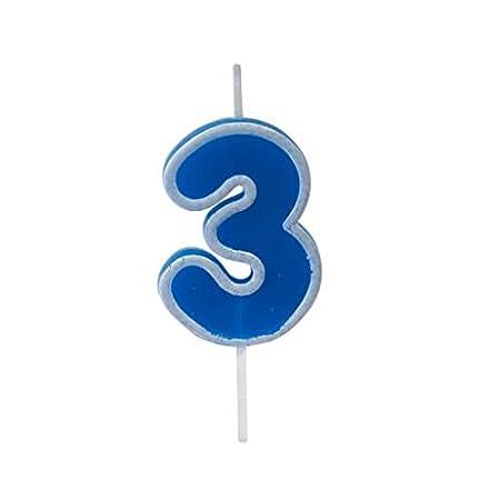 Vela Cumpleaños Azul 3 años (x1) Ref/bga1401/3: Amazon.es: Hogar