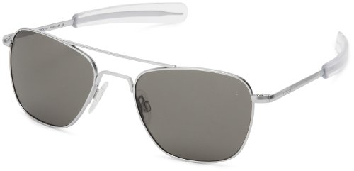 - Randolph Aviator Square Sunglasses, 55, Matte Chrome, Bayonet, Gray Lenses