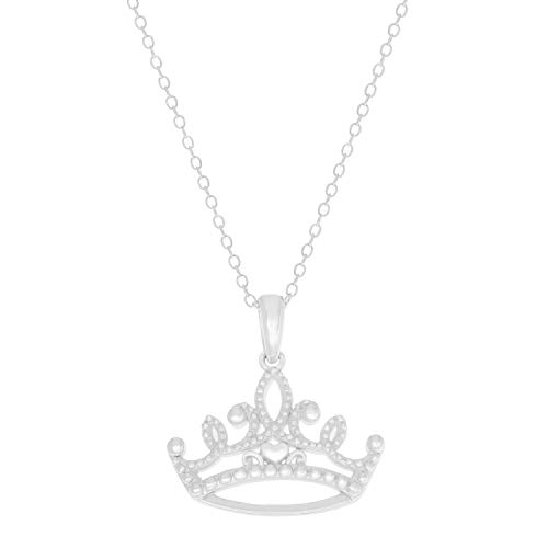 "Disney Princess Sterling Silver Tiara Pendant Necklace, 18"" Chain"
