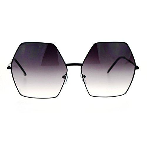 SA106 Retro Oversized Octagon Groove Hippie Sunglasses Black - Octagon Sunglasses