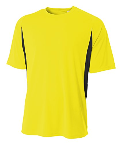(A4 Men's Cooling Performance Color Block Short Sleeve Crew Safety Yellow/Black)