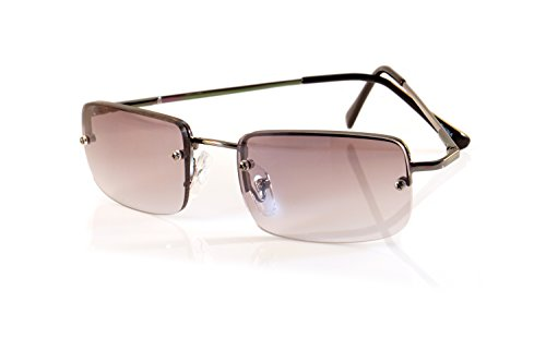 FBL Minimalist Small Rectangular Color Tinted Sunglasses Spring Hinge A125 (Gunmetal/ Black ()