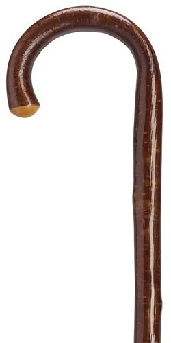 Walking Cane - Men's crook genuine hazelwood cane (golden color) with natural bark and naturally tapered shaft, 36'' long with rubber tip. by King Of Canes