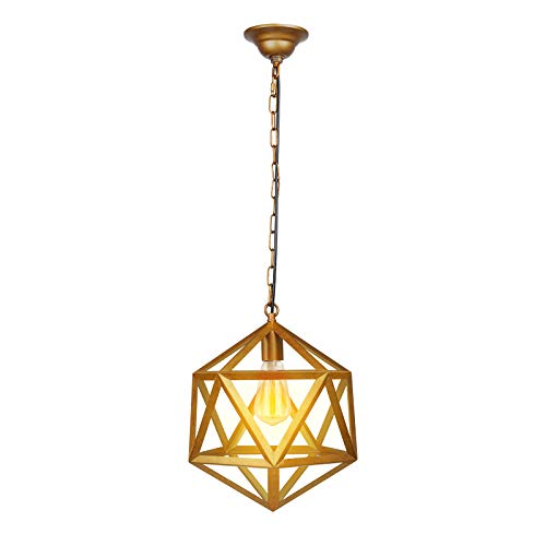 - Paragon Home Geometric Pendant Light Fixture for Kitchen and Dining Room, Polygon Industrial Lighting Fixture, Foyer Chandelier, E26 Base, Antique Brass (Bulb Not Included)