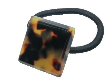 - Charles J. Wahba Mini Square Ponytail Holder - Tokyo Tortoise Color from FRANCE