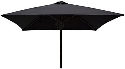 Heininger 1229 DestinationGear 6.5' Square Black Classic Wood Patio Umbrella
