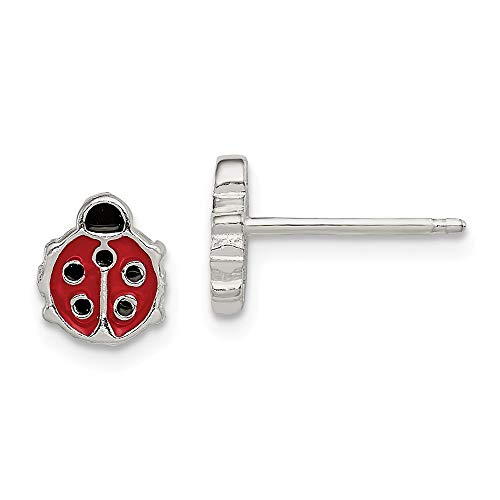 925 Sterling Silver Enameled Ladybug Post Stud Earrings Animal Insect Fine Jewelry Gifts For Women For Her